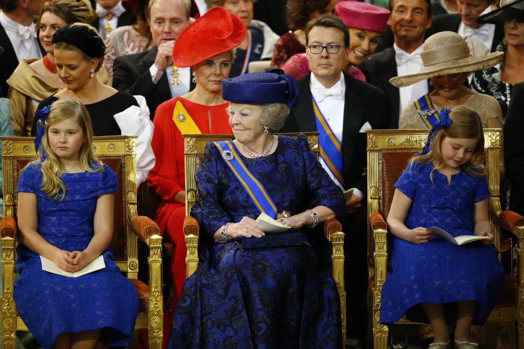 Princess Beatrix sat next to the younger princesses.