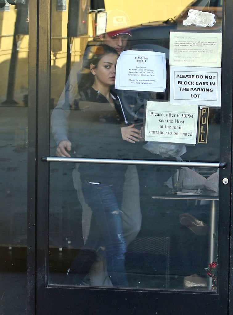 Ashton Kutcher and Mila Kunis Show Love at Lunch