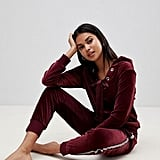 Velour Lace Up Loungewear Hoodie and Joggers Set