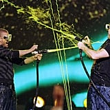 Justin Timberlake and Vince Vaughn hosed each other with slime in 2007.