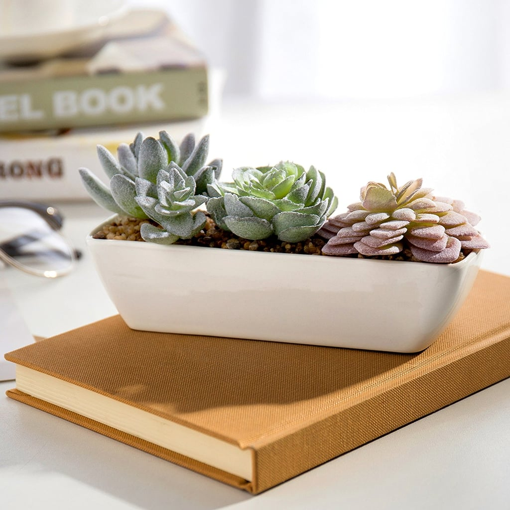 Miniature faux succulent arrangement in white ceramic rectangular miniature faux succulent arrangement in white ceramic rectangular planter mightylinksfo