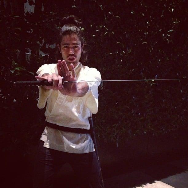 Adrian Grenier broke out his samurai sword for Halloween. Source: Instagram user adriangrenier