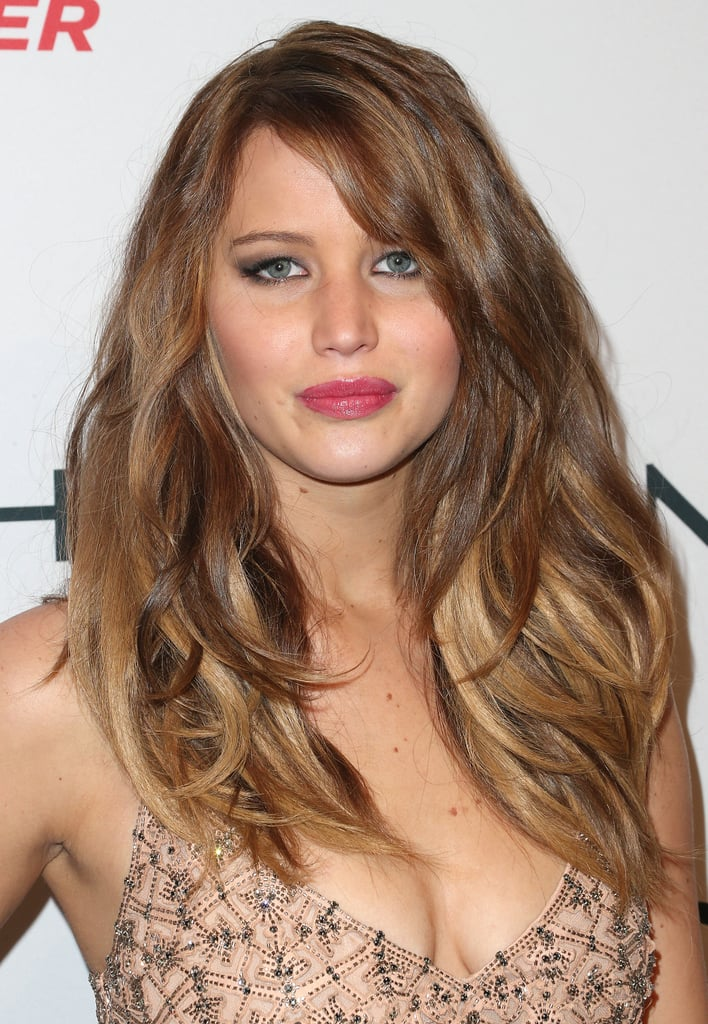 Jennifer Lawrence wore her hair down for the occasion.