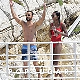 Justin Theroux and Laura Harrier Swimming in France May 2018