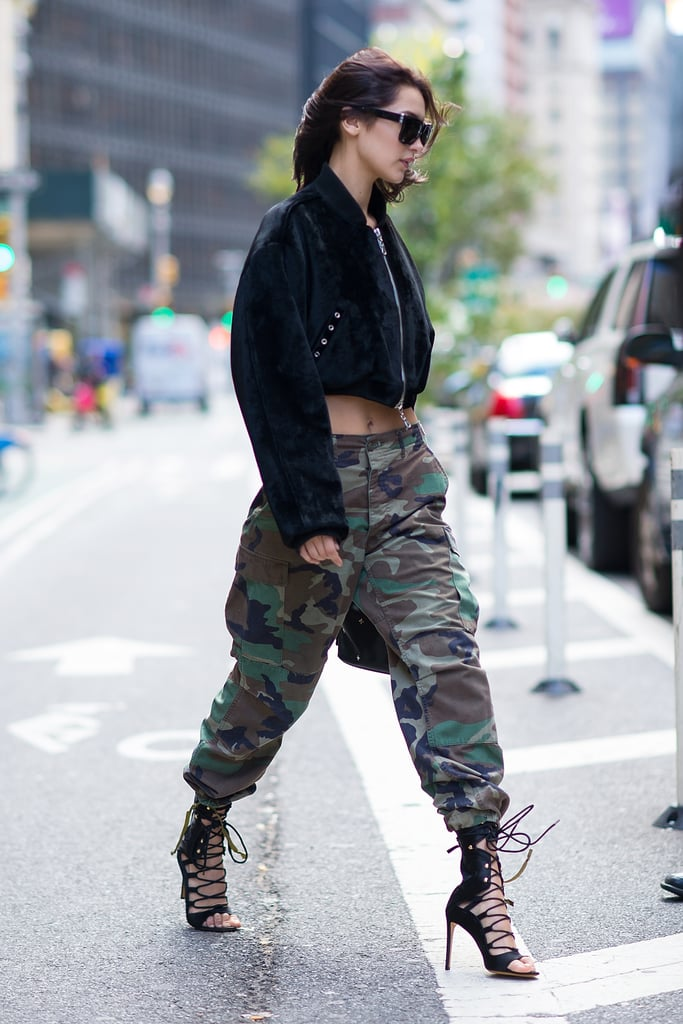 She Wore a Hardware LND Crop Jacket, Camo Pants, and Heels