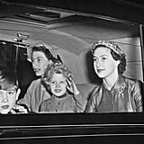 Margaret rode along with Elizabeth and her two kids, Prince Charles and Princess Anne, after their Summer holiday in Balmoral in 1954.