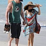 Channing Tatum and his pregnant wife Jenna Dewan held hands.