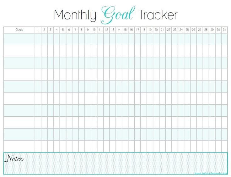 Download: Monthly Goal Tracker