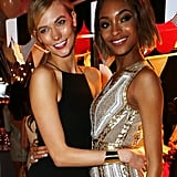 Karlie Kloss and Jourdan Dunn cuddled up for a cute shot.