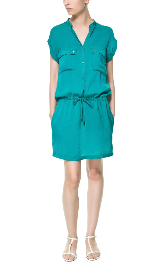 A relaxed shirtdress, like this teal Zara pick ($50), will look all dressed up with heels and big earrings.