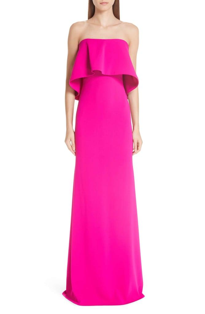 Badgley Mischka Platinum Strapless Popover Column Gown