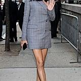 Wearing a Blazer Dress on Her Way to Fenty Puma by Rihanna