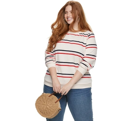 Plus Size POPSUGAR Striped Sweatshirt