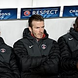 David Beckham sat on the bench as an unused substitute.