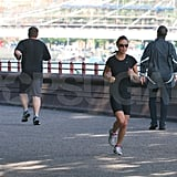 Pippa Middleton wears black to run in London.