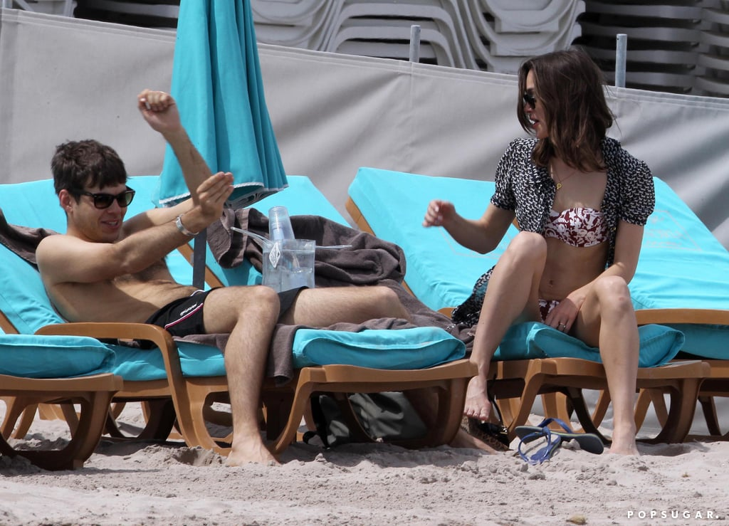 Keira Knightley and James Righton got playful on the beach.