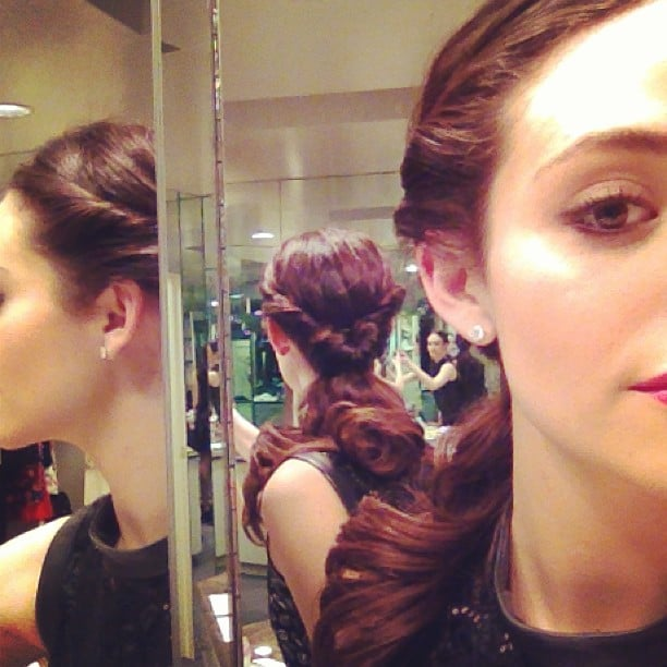 "Emmy Rossum showed off her ""DIY"" hair and makeup look. Source: Instagram user emmyrossum"