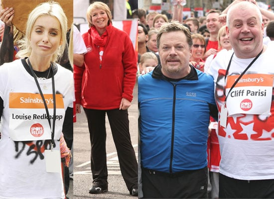 Photos of Celebrities Taking Part in the Sport Relief Mile in London Including Eddie Izzard, Louise Redkapp, Fern Britton