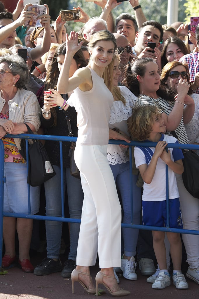 Queen Letizia Wearing White Pants May 2016