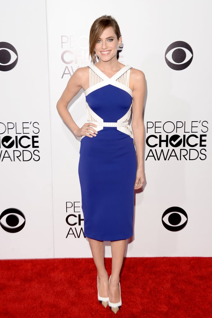 With strong contrasting colours and cut-outs at the waist, this was pretty daring for Allison Williams.