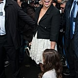 Jennifer Lopez had a laugh on the way into Chanel's Paris Fashion Week show with her little one, Emme.
