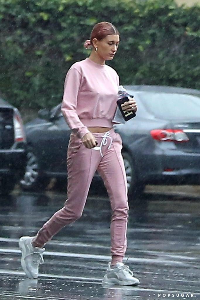 Hailey Baldwin and Justin Bieber Wearing Pink Sweats