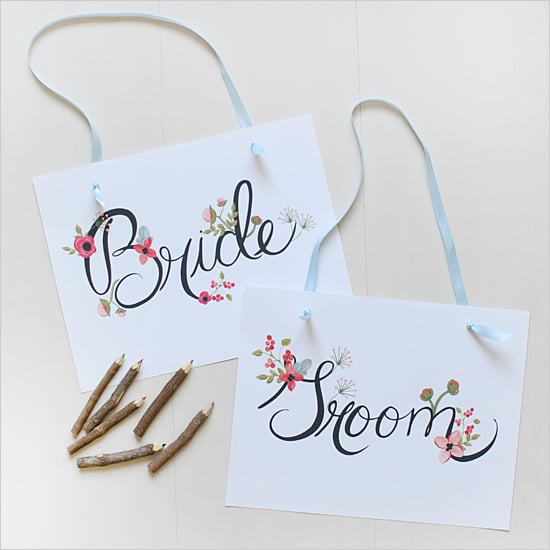 Floral Bride and Groom Signs