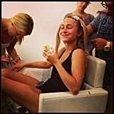 Hayden Panettiere was the picture of productivity while getting her hair and nails done (not to mention eating a burrito). Source: Twitter user haydenpanettier