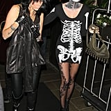 Miley Cyrus's mom, Tish, and sister Brandi arrived at a Halloween party at the Roosevelt Hotel in 2012.
