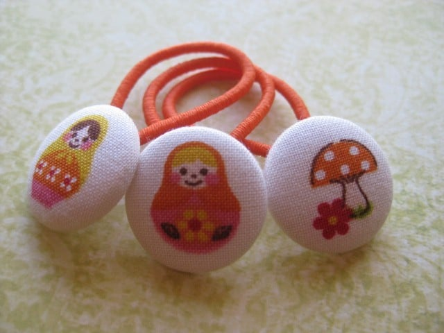White & Orange Matryoshka Ponytail Pigtail Holder ($5)