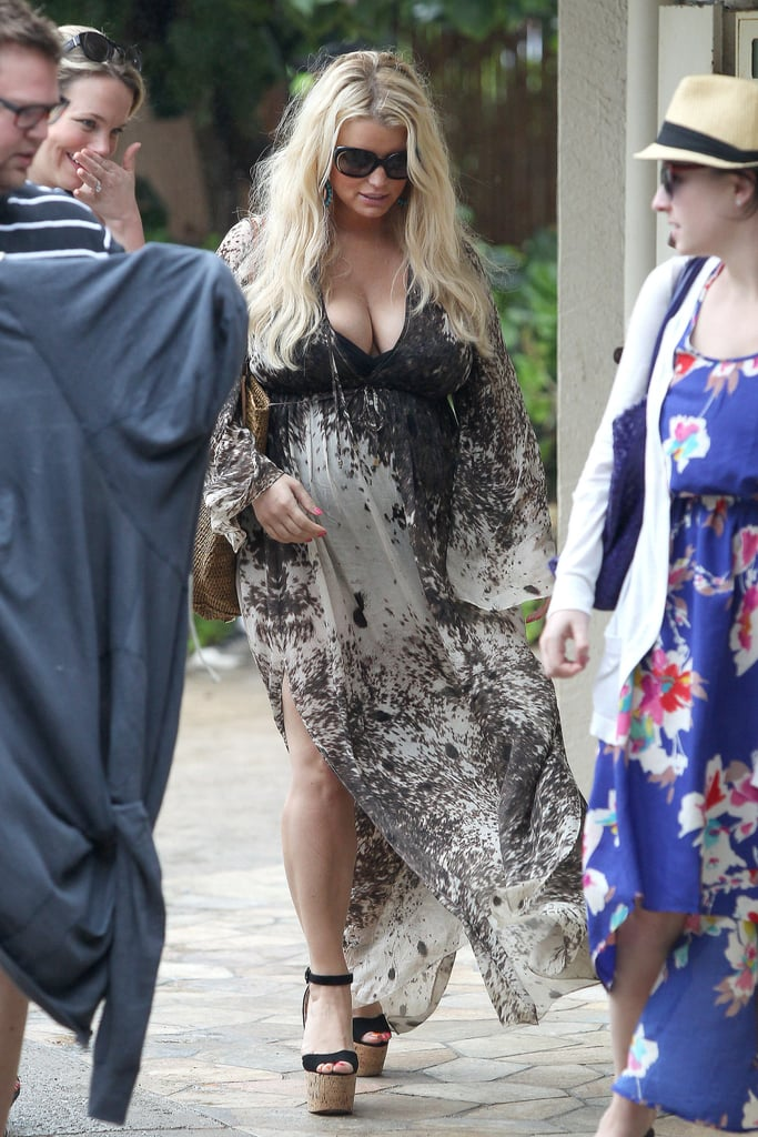 Jessica Simpson stepped out for lunch in a caftan and platform sandals.