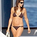 Cindy Crawford wore a skimpy bikini for a yacht outing with husband Rande Gerber on vacation in St. Tropez in August 2009.