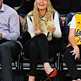 Iggy Azalea supported her boyfriend, LA Lakers player Nick Young, at his team's game against the Portland Trail Blazers in LA on Sunday.