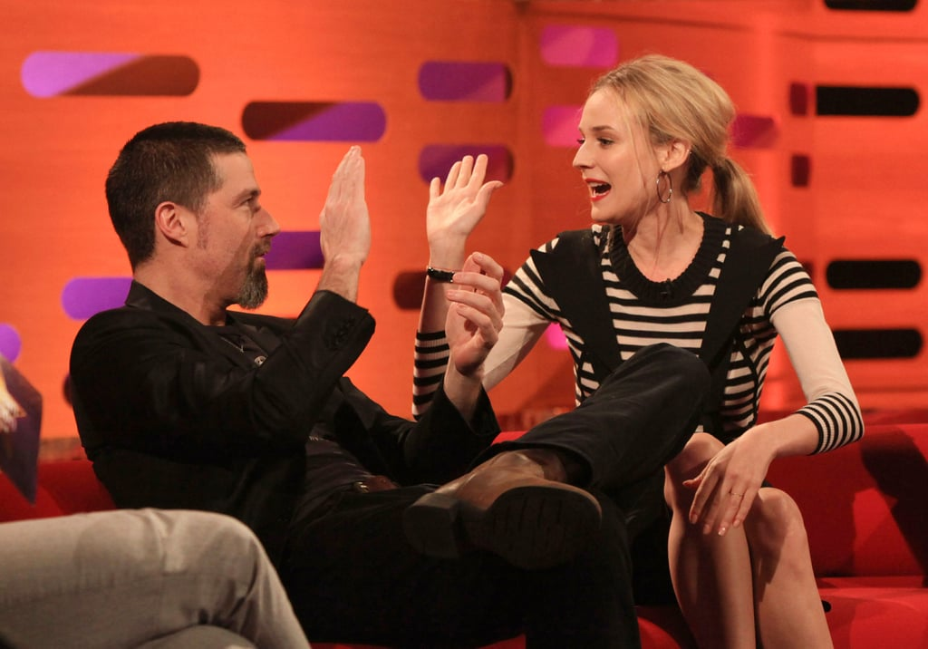 Diane Kruger was one of the guests on hand for a taping of The Graham Norton Show in London yesterday. The actress chose another chic black and white ensemble for the episode, which airs on the BBC this Friday. She shared the couch with Lost's Matthew Fox, even at one point sharing a high five. Diane was in the UK after a quick stop in Germany where she attended the Berlin Film Festival premiere of her movie Unknown. She was in California just last week to promote the film at the West Coast screening, and all her hard work paid off when the project took the top spot at the weekend box office. She's rolling solo on her current trip abroad; however, she had her handsome Valentine, Joshua Jackson, by her side last month on a romantic Cabo vacation.