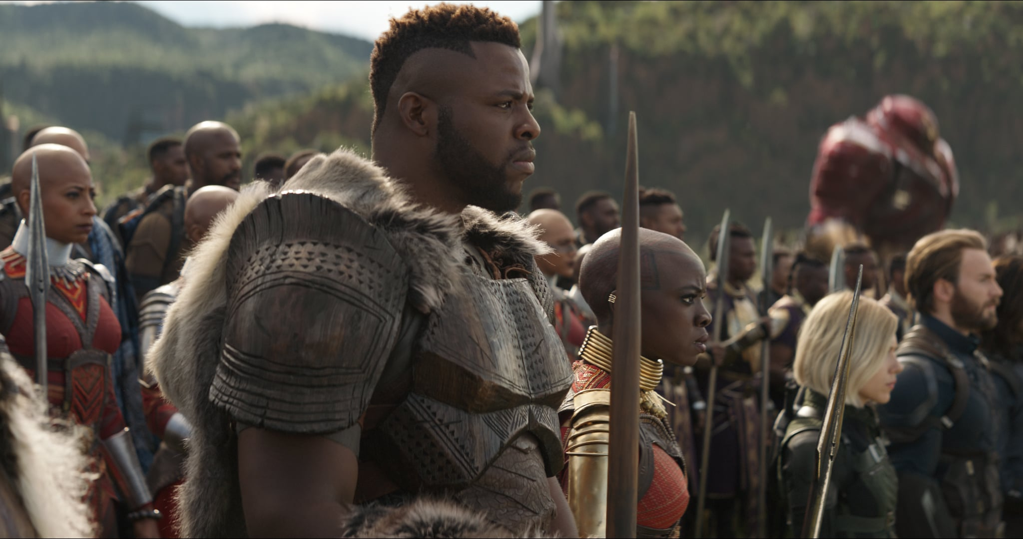 Marvel Studios' AVENGERS: INFINITY WAR..L to R: M'Baku (Winston Duke), Okoye (Danai Gurira), Black Widow/Natasha Romanoff (Scarlett Johansson) and Captain America/Steve Rogers (Chris Evans)..Photo: Film Frame..©Marvel Studios 2018