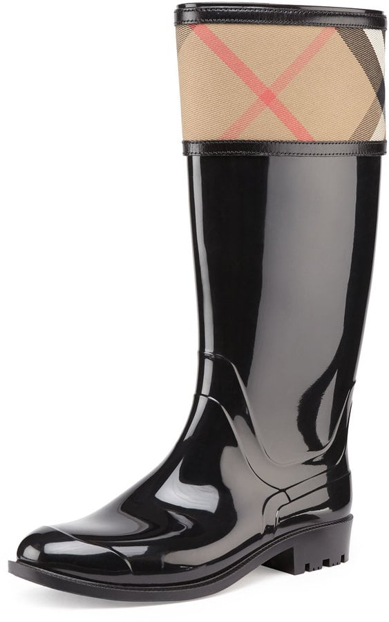 Burberry Check-Cuff Rubber Rain Boot ($325)