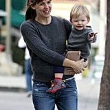 Jennifer Garner played at a park in LA on Sunday with baby Samuel.