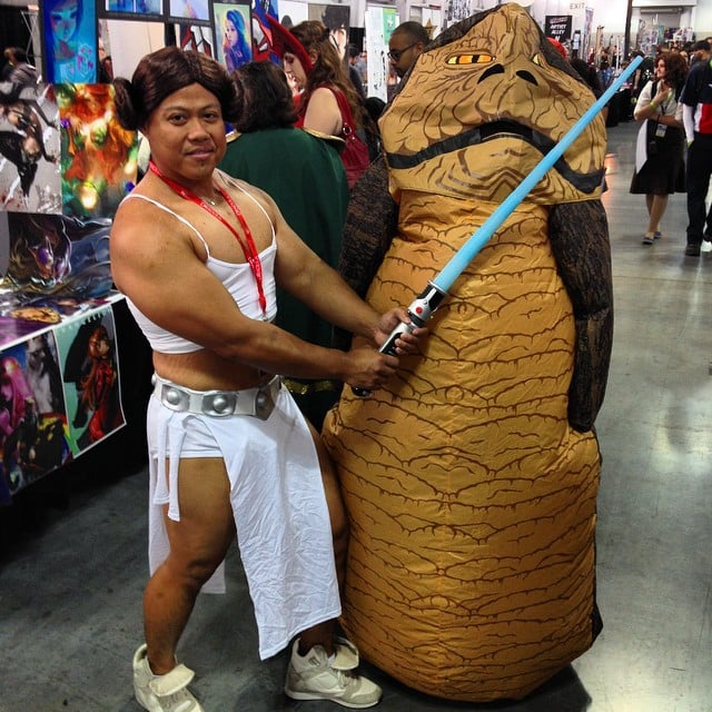 New York Comic Con 2015 | POPSUGAR Tech Jabba The Hutt And Princess Leia Costume