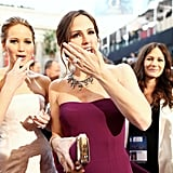 Jennifer Lawrence and Jennifer Garner on the red carpet at the Oscars 2013.
