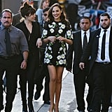 Gal wore a short floral Dolce & Gabbana dress on Jimmy Kimmel Live, pairing the piece with yellow shoes.