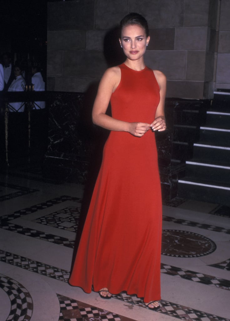 Natalie Portman in a Red Racer-Back Gown at a 2002 Event