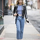 With a Leather Jacket and Straight-Leg Jeans