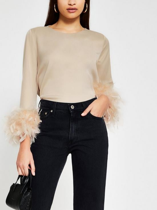 River Island Faux Feather Hem Top