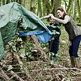 Kate Middleton helped pitch a tent with children from Expanding Horizons' primary school outdoor camp.