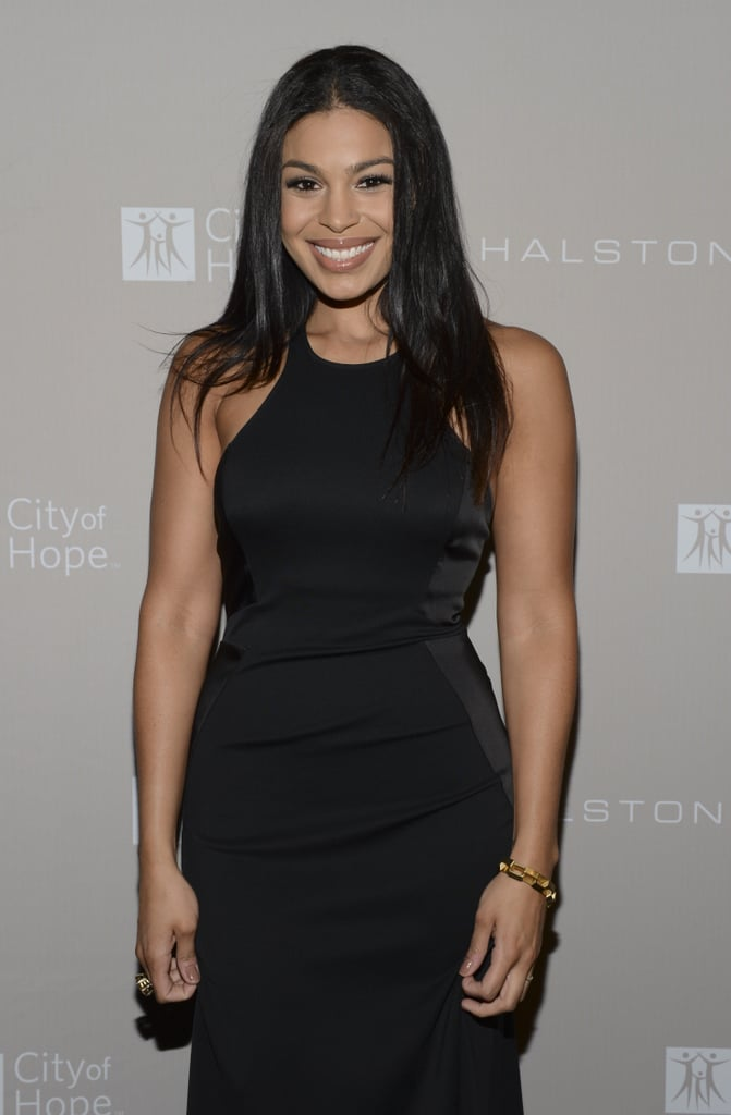 Jordin Sparks paired her black dress with simple accessories and sleek hair.