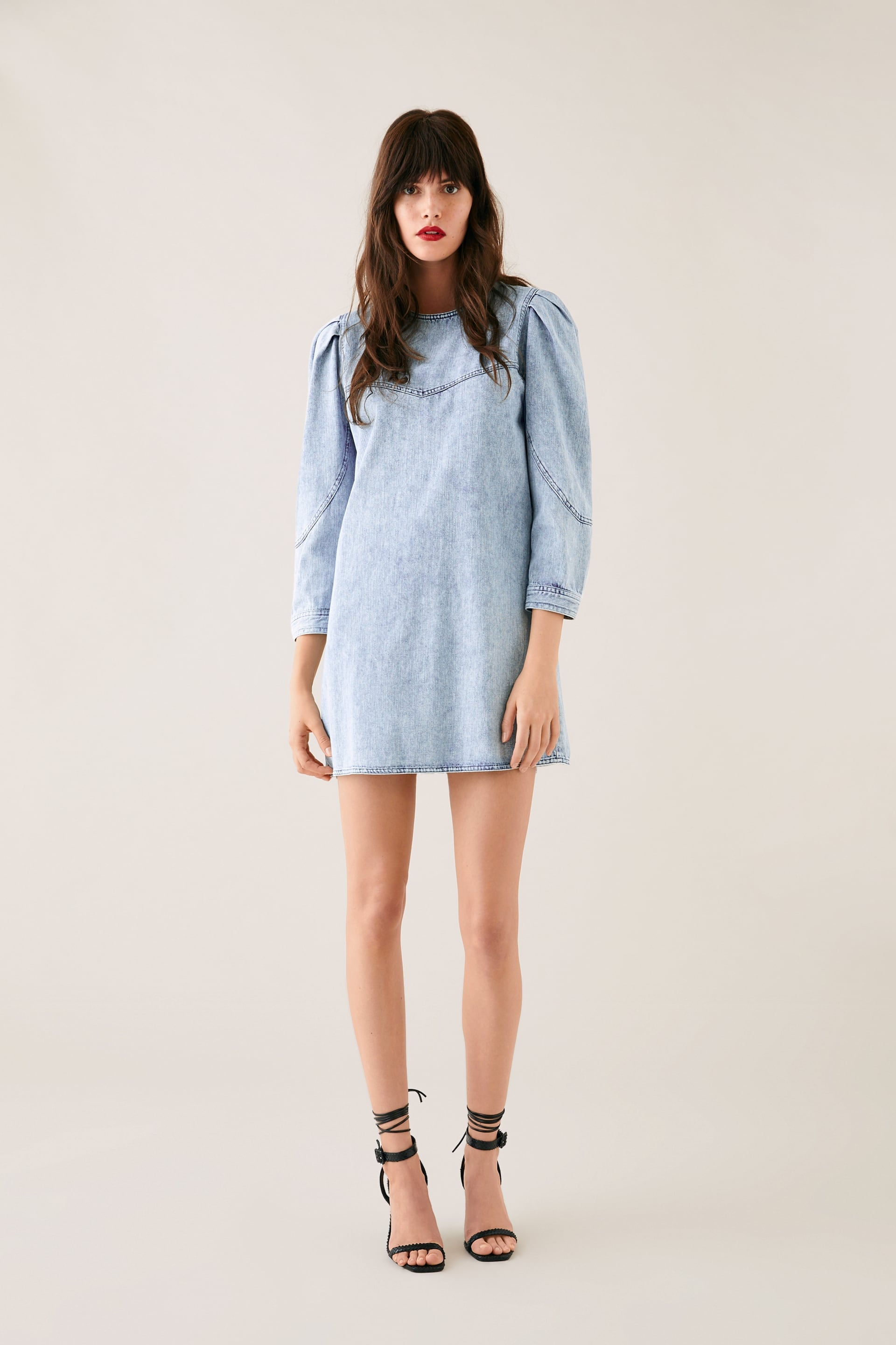 ever popular really comfortable most popular Zara Denim Dress With Balloon Sleeves | These Spring Pieces ...