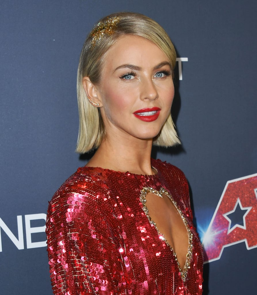 Julianne Hough may not have performed at the America's Got Talent finale, but she absolutely stole the show with her hair, which looked like it was covered in golden buzzer confetti. Yep, the AGT judge transformed her new blunt bob haircut with a sprinkling of glitter over her roots to add some shimmer and shine to her already glamorous look, and we're taking all the notes. Hough's hair paired perfectly with her sequinned red dress that featured a heart-shaped cutout and a high leg slit, making for an altogether dazzling (and golden-buzzer-worthy) look.  Keep scrolling to take a look at Hough's sparkly new 'do from all angles.       Related:                                                                                                           Halsey Wore a Rainbow Part at the VMAs, Proving She's Never One to Be Outdone
