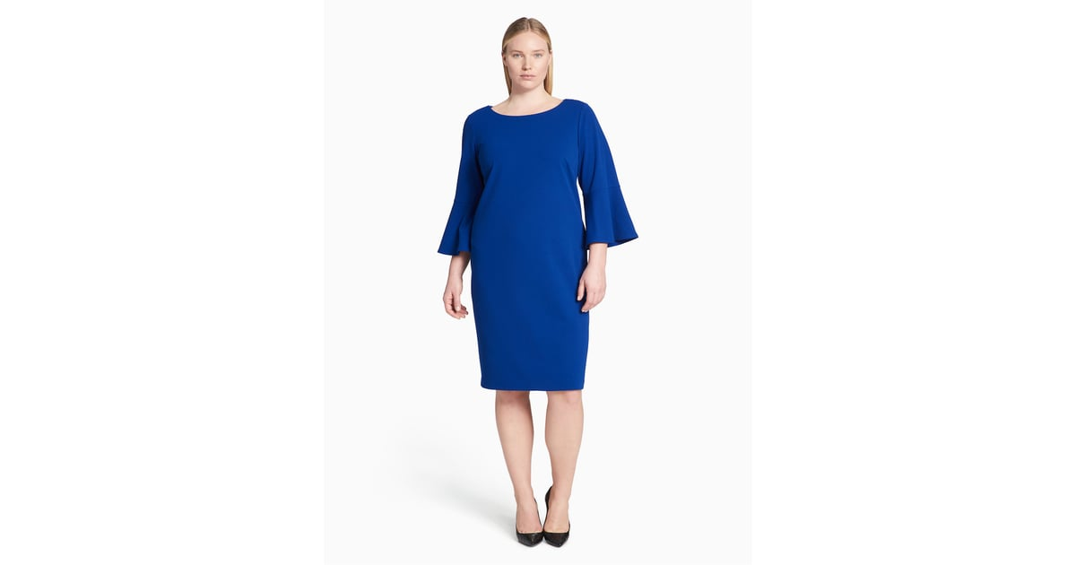 Calvin Klein Women S 3 4 Peplum Sleeve Sheath Dress Plus Size