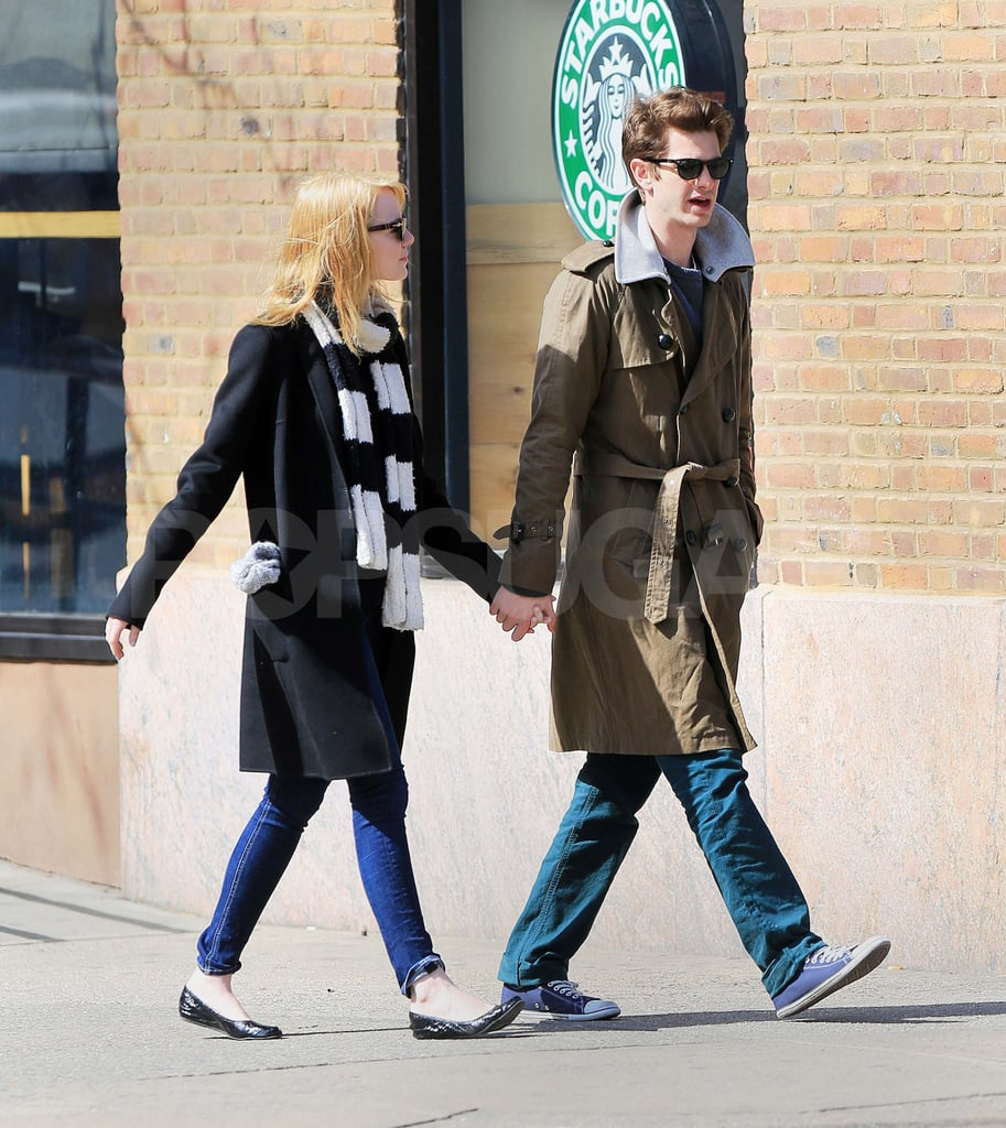 Emma Stone and Andrew Garfield were hand in hand for a walk around NYC yesterday. The couple was layered up for the brisk Spring day, with Emma wearing a striped scarf and Andrew donning a trench coat. Emma and Andrew are spending time together in the Big Apple while Andrew's performing in Death of a Salesman on Broadway. Emma was front row for opening night earlier this month, though the duo were later separated when Emma traveled to the West Coast for WonderCon. She talked up The Amazing Spider-Man with director Marc Webb since Andrew was unable to attend. There will be plenty more opportunities for the costars to do press together, though, before the movie's Summer release.
