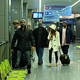 Justin Timberlake and Jessica Biel were at the airport in Italy.